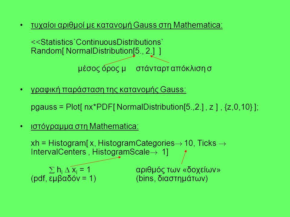 τυχαίοι αριθμοί με κατανομή Gauss στη Mathematica: <<Statistics`ContinuousDistributions` Random[ NormalDistribution[5., 2.] ] μέσος όρος μ στάνταρτ απόκλιση σ